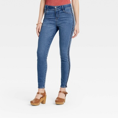 Women's Mid-Rise Embroidered Denim Ankle Pants - Knox Rose™