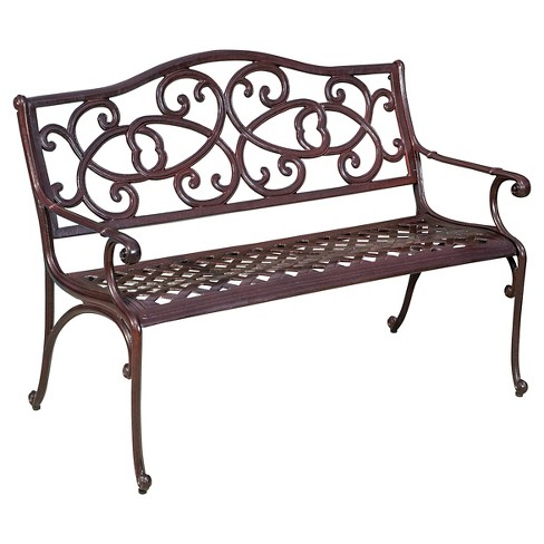 McKinley Cast Aluminum Patio Bench - Brown Copper - Christopher Knight Home - image 1 of 4