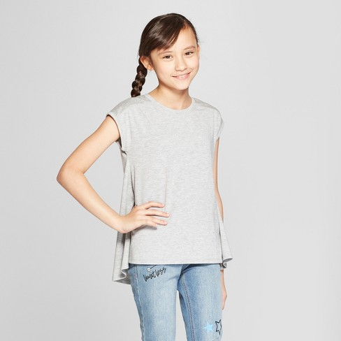 Girls' Shine Cap Sleeve Drapey Top - Cat & Jack™ Heather Gray - image 1 of 3