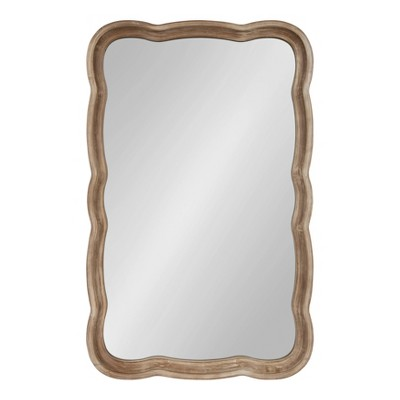 """24"""" x 38"""" Hatherleigh Scallop Wood Wall Mirror Rustic Brown - Kate and Laurel"""
