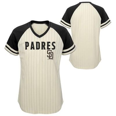 MLB San Diego Padres Girls' Pinstripe V-Neck T-Shirt