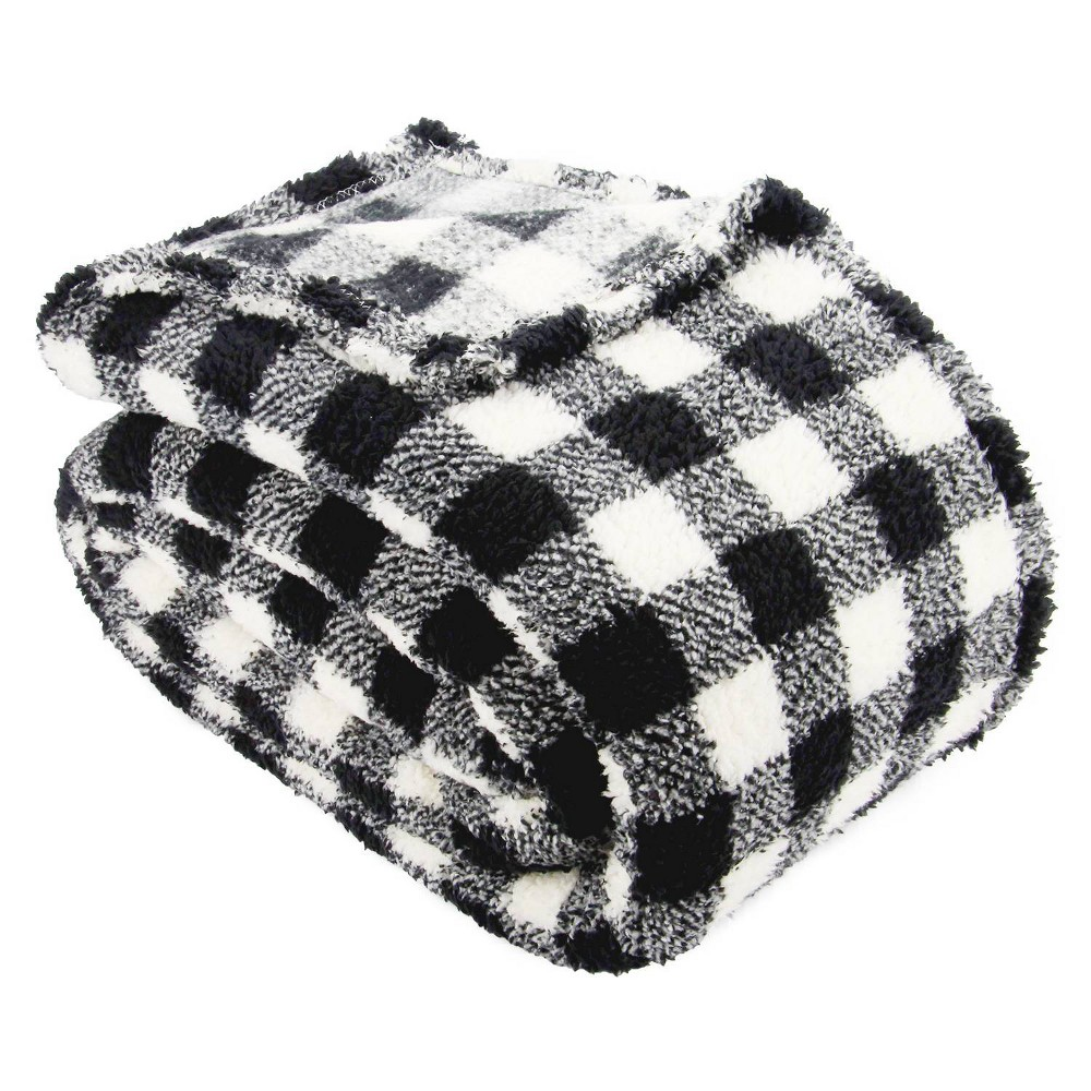Image of Lodge Collection King Printed Pattern Sherpa Bed Blanket Black Plaid - Posh Home