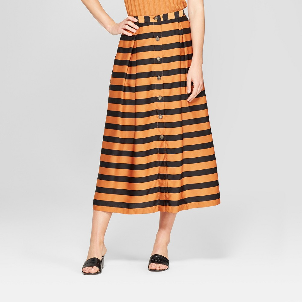 Women's Striped Button Front A-Line Midi Skirt - Who What Wear Black/Brown 6