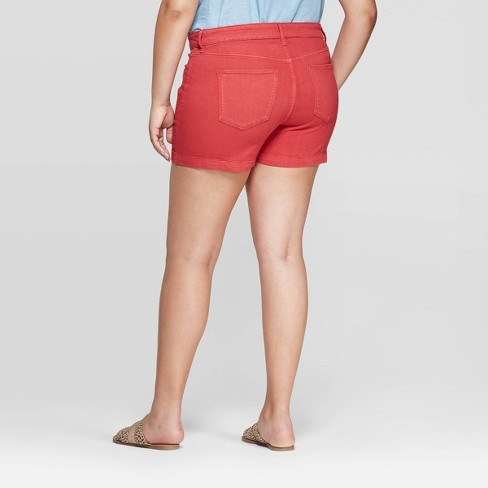 9106849753 Women's Plus Size Mid-Rise Jean Shorts - Universal Thread™ Red : Target