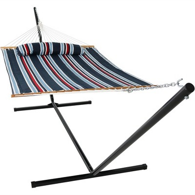 Sunnydaze 2-Person 400-Pound Weight Capacity Heavy-Duty Quilted Hammock with 15' Steel Stand - Nautical Stripe