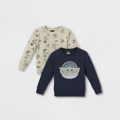 Toddler Boys' 2pk Baby Yoda Fleece Pullover - Gray