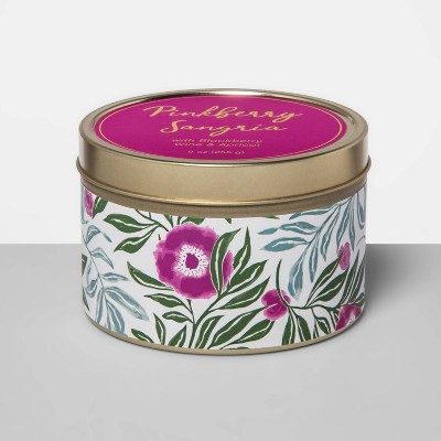 9oz Paper-Wrapped Tin Jar Candle Pinkberry Sangria - Opalhouse™