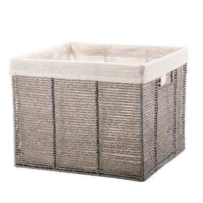 Twisted Paper Rope Large Milk Crate Gray - Threshold™