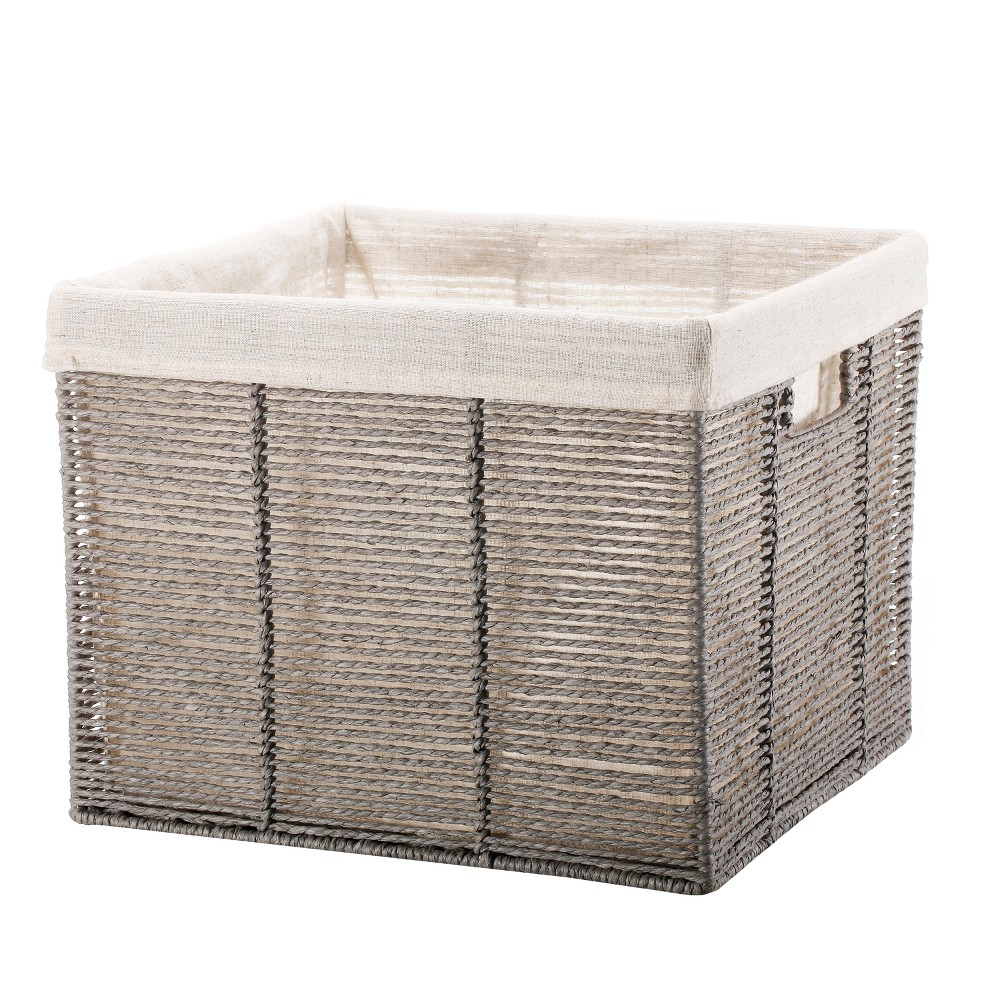 Twisted Paper Rope Large Milk Crate Gray - Threshold