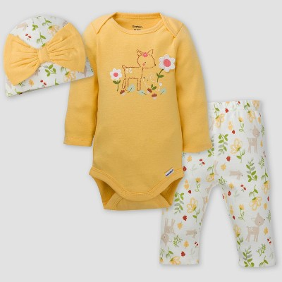 Gerber Baby Girls' 3pc Floral Top and Bottom Set - Yellow/Off-White