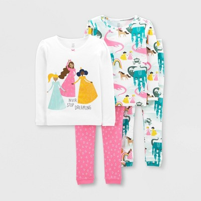 Baby Girls' 4pc Princess Snug Fit Pajama Set - Just One You® made by carter's Pink 9M