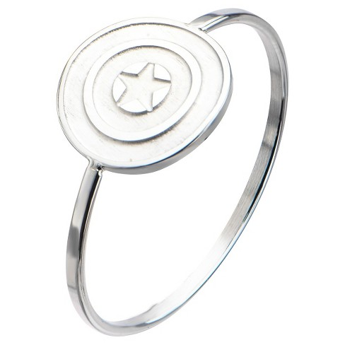 Women's Marvel™ Captain America Shield Logo Stainless Steel Polished Ring - image 1 of 2