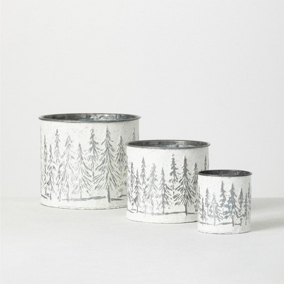 "Sullivans Weathered Metal Tree Planters Set of 3, 7""H, 5.75""H & 4.25""H White"