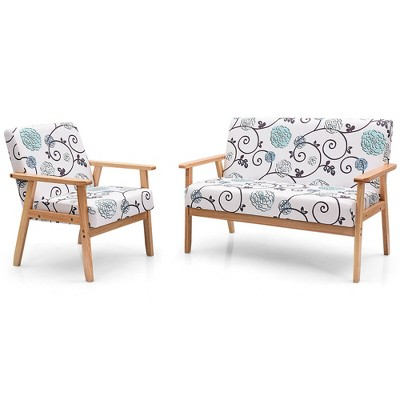 Costway Modern Living Room Sofa Set w/ Loveseat Sofa Couch & Accent Armchair