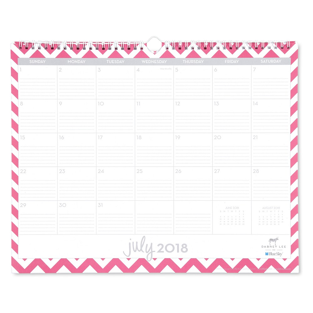 2018-19 Academic Wall Calendar Pink Chevron - Blue Sky, Multi-Colored