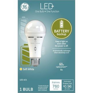 General Electric 60W 1pk A21 Battery Back Up LED+ Light Bulb Clear