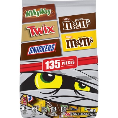Milky Way, Twix, Snickers, M&M's Halloween Chocolate Variety Pack - 53.76oz/135ct
