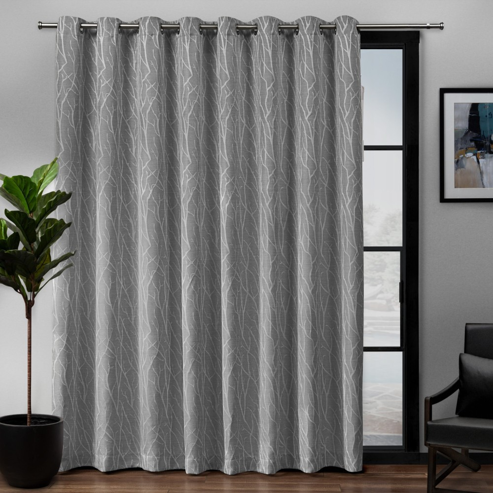 "Image of ""108""""x84"""" Forest Hill Patio Woven Blackout Grommet Top Single Curtain Panel Ash Grey - Exclusive Home"""