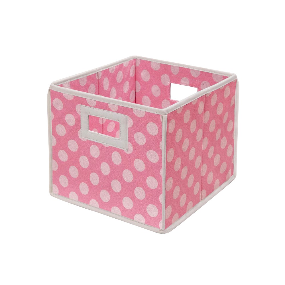 Image of Badger Basket Company Polka Dot Fabric Cube - Pink