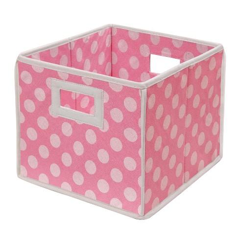 Badger Basket Company Polka Dot Fabric Cube - Pink - image 1 of 1