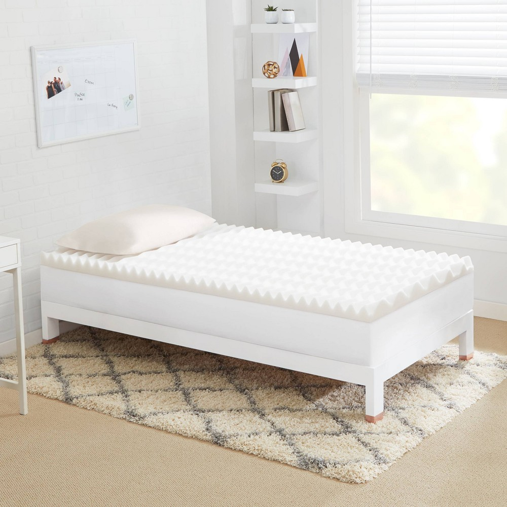 """Image of """"Full 3"""""""" Copper Infused Wave Foam College Mattress Topper Beige - CopperFresh"""""""