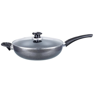 Brentwood Wok W/ Lid Aluminum Non-Stick 11 Inch- Gray