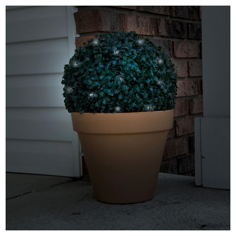 Pure Garden Topiary Solar Light Ball - 20 White LED Lights, Green