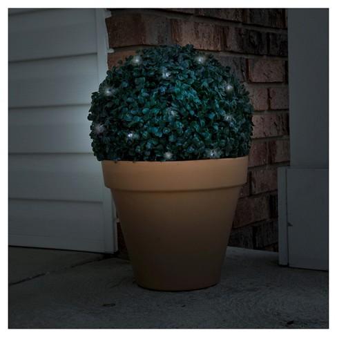 Pure Garden Topiary Solar Light Ball - 20 White LED Lights - image 1 of 3