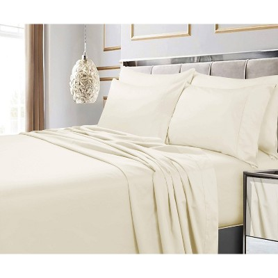 King 600 Thread Count 6pc Extra Deep Pocket Sateen Sheet Set Ivory - Tribeca Living