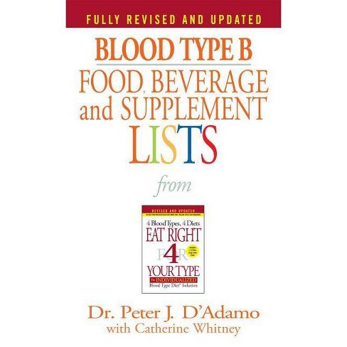 Blood Type B Food, Beverage and Supplement Lists - (Eat Right 4 Your Type)by  Peter J D'Adamo - image 1 of 1