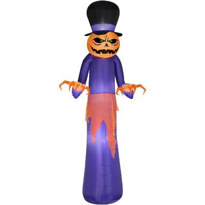 Gemmy Airblown Pumpkin Reaper w/Top Hat Giant , 12 ft Tall, Purple