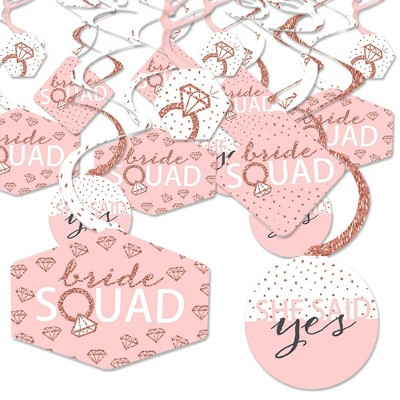 Big Dot of Happiness Bride Squad - Rose Gold Bridal Shower or Bachelorette Party Hanging Decor - Party Decoration Swirls - Set of 40