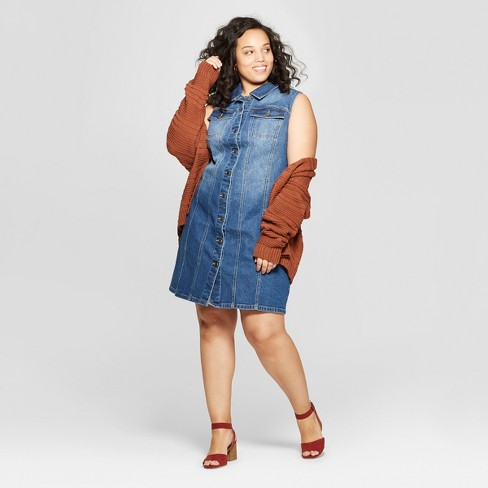 Women s Plus Size Sleeveless Collared Denim Dress - Universal Thread™ Blue 277a07422