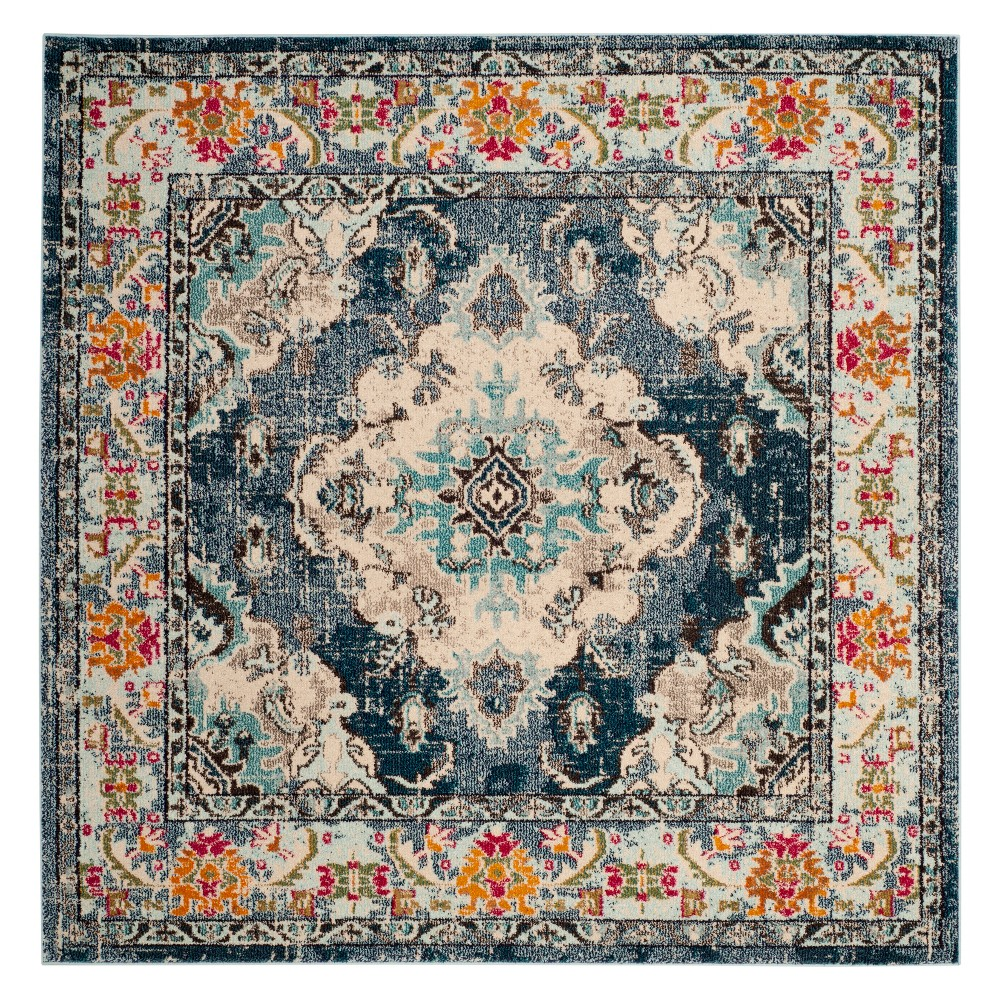 9'X9' Medallion Square Area Rug Navy Blue - Safavieh, Blue/Light Blue
