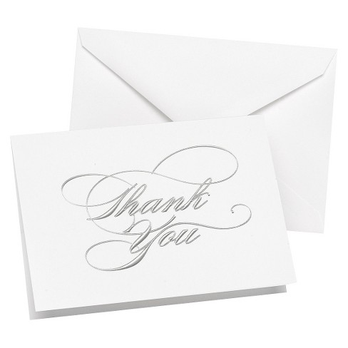 Wedding Thank You Cards (50ct) - Silver - image 1 of 1