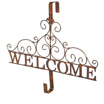 Evergreen Rustic Welcome Wreath Holder
