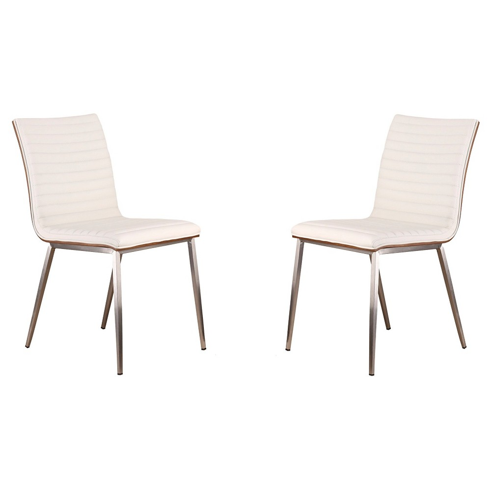 Café Brushed Stainless Steel Dining Chair - White Polyurethane With Walnut Back (Set of 2) - Armen Living