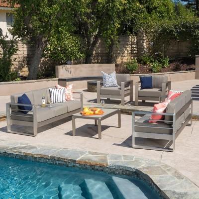 Cape Coral 5pc Aluminum Seating Set Khaki - Christopher Knight Home
