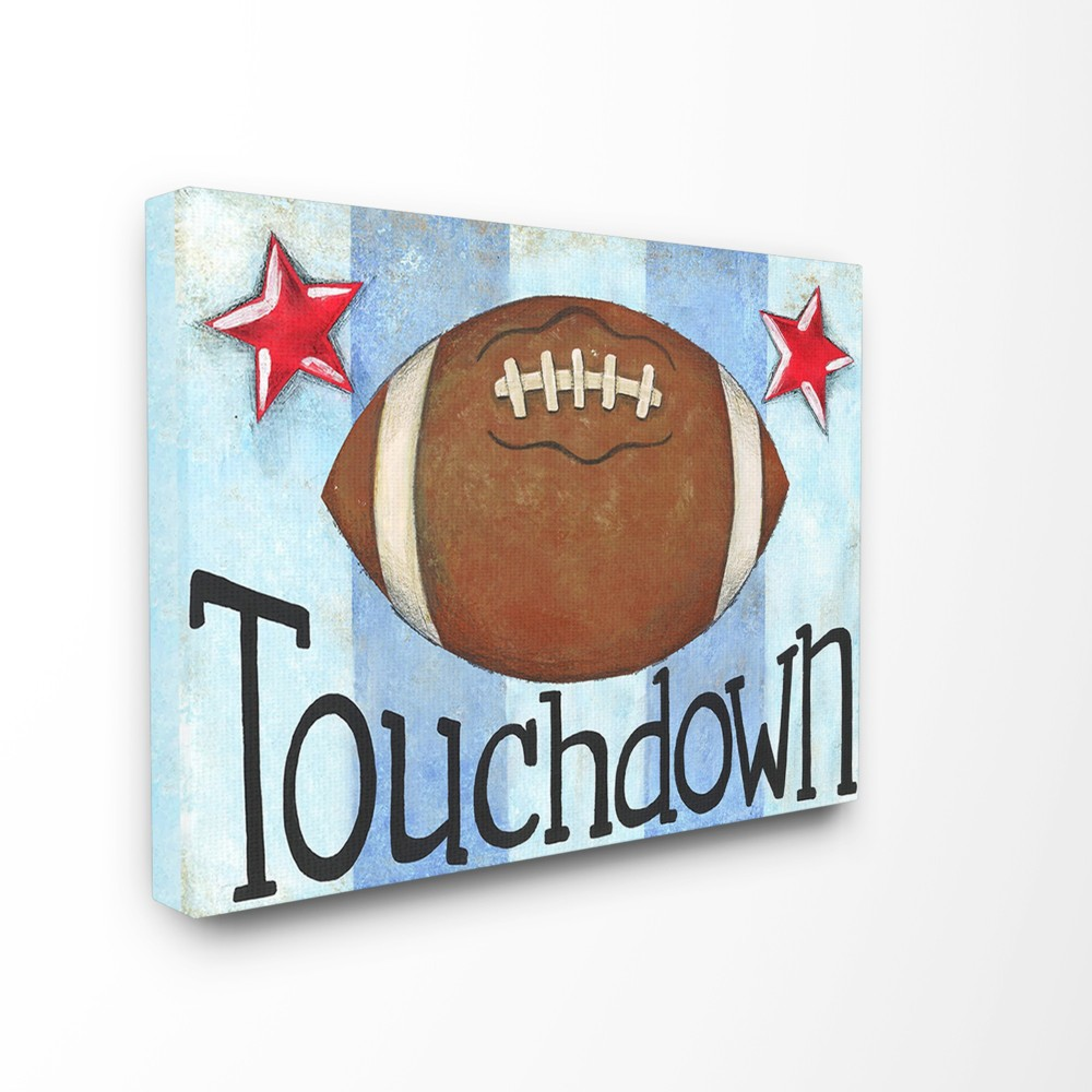 Touchdown Football With Blue Stripes Oversized Stretched Canvas Wall Art (30x40