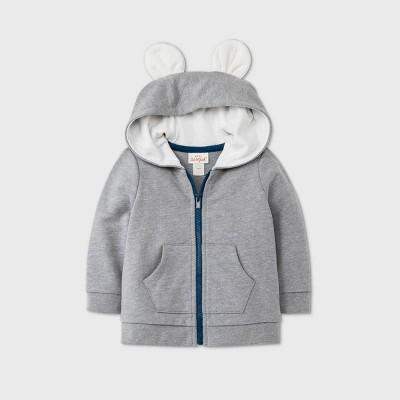 Baby Boys' Bear Layering Sherpa Lined Hood Jacket - Cat & Jack™ Gray 0-3M