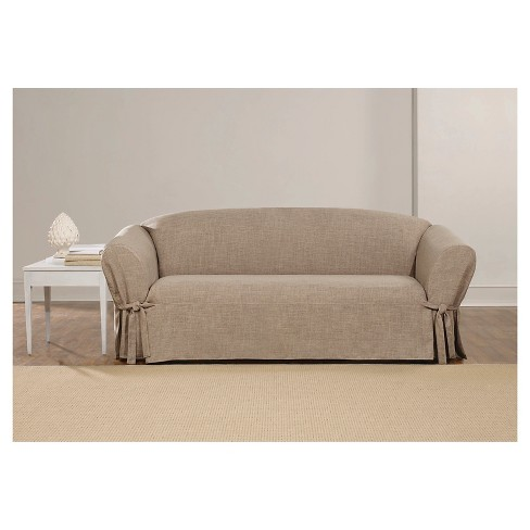 Textured Linen Sofa Slipcover Sand Sure Fit