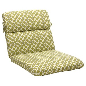 Outdoor Chair Cushion - Green/White Geometric