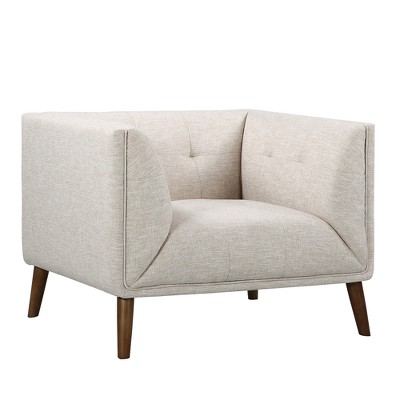 Hudson Mid Century Button Tufted Chair In Beige Linen And Walnut Legs    Armen Living : Target