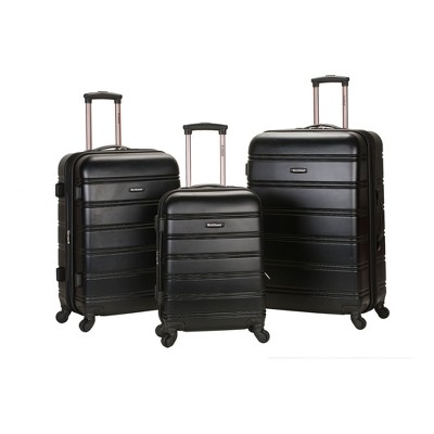 Rockland Melbourne 3pc Expandable ABS Spinner Luggage Set - Black