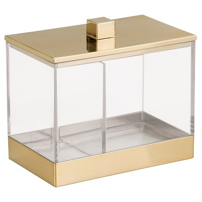 Rectangular Bathroom Vanity Canister with Dividers Clear/Soft Brass - iDESIGN
