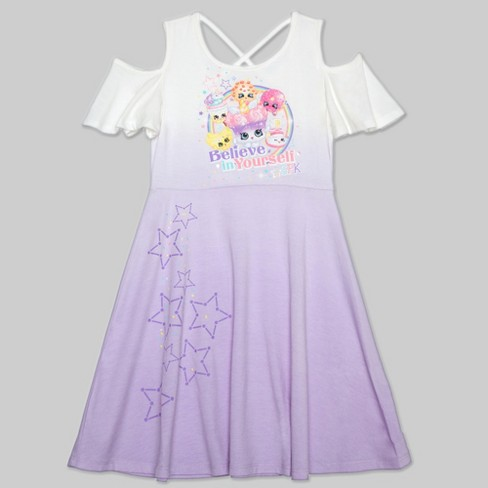 Girls' Shoppies 'Believe In Yourself' Skater Dress - Lavender S - image 1 of 2