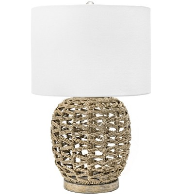"nuLOOM Bristol 24"" Rattan Table Lamp Lighting - Tan 23.5"" H x 15"" W x 15"" D"