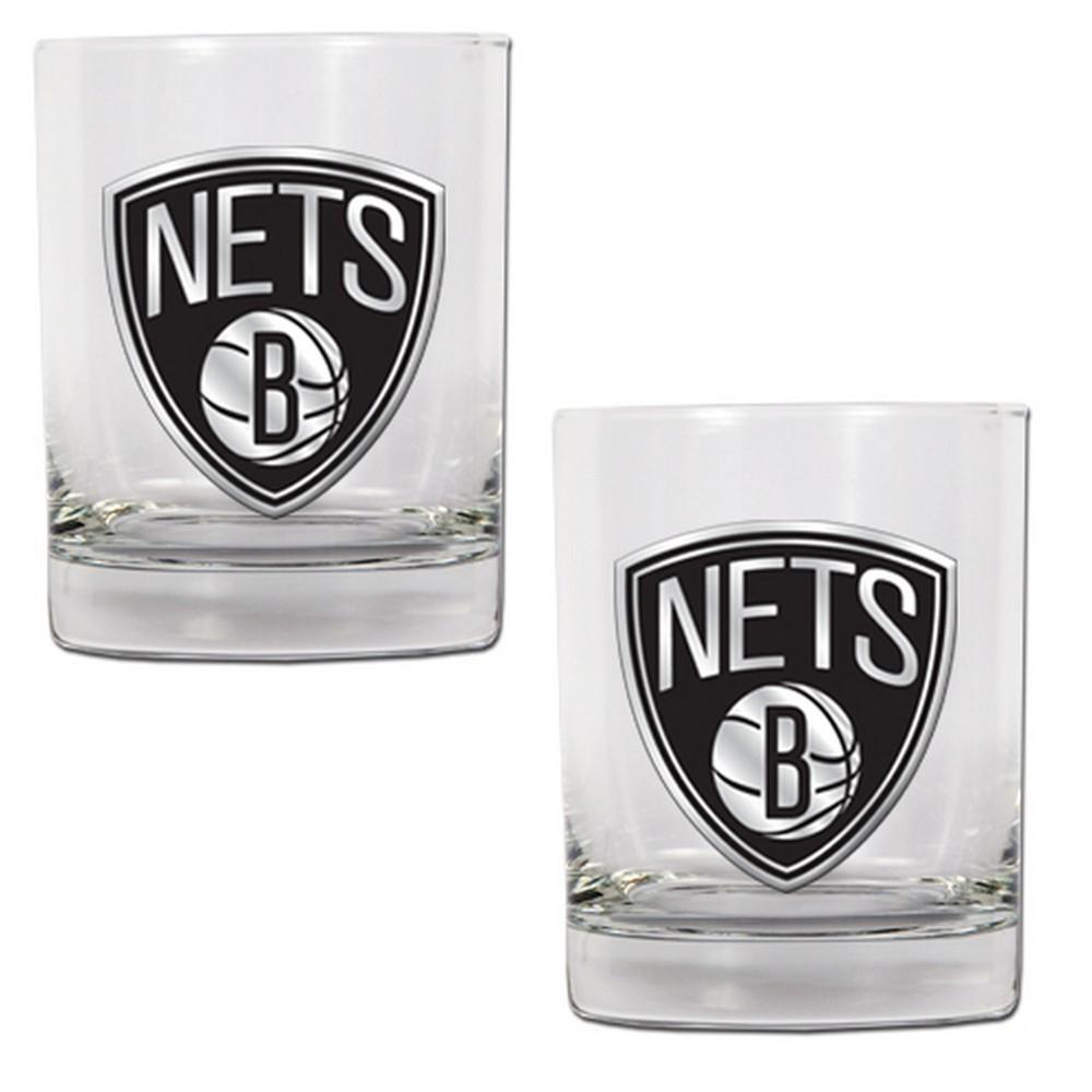 NBA Brooklyn Nets 2pk Metal Emblem Rocks Glass Set