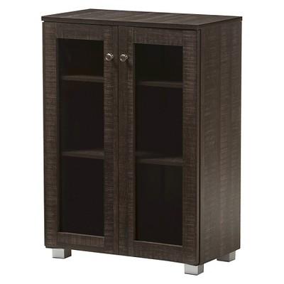 Mason Modern and Contemporary Multipurpose Storage Cabinet Sideboard - Dark Brown - Baxton Studio