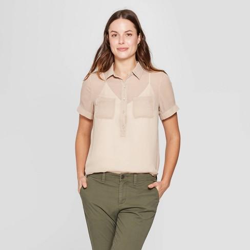 55c1b10e Women's Short Sleeve Button-Down Shirt - A New Day™ Tan : Target